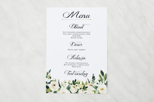 menu ze wzorem białe kwiaty