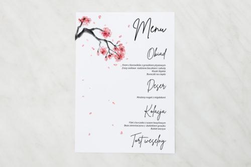 menu weselne z motywem japońskiej wiśńi