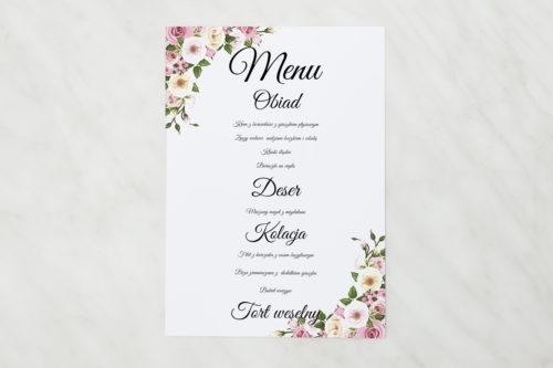 menu pastelowe kwiaty