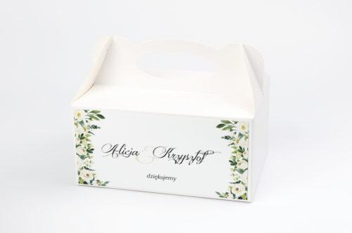 pudełko na ciasto ślubne wzór białe kwiaty