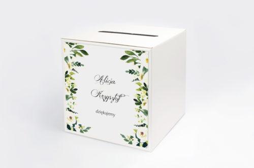 pudełko na koperty wzór białe kwiaty