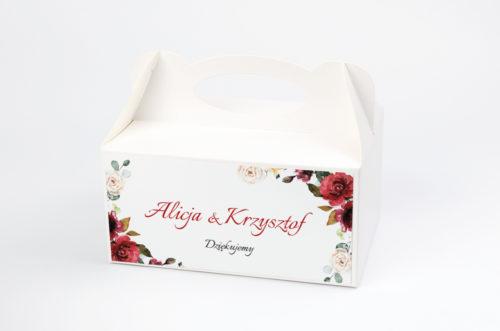 pudełko na ciasto we wzorze wianka z czerwonymi kwiatami