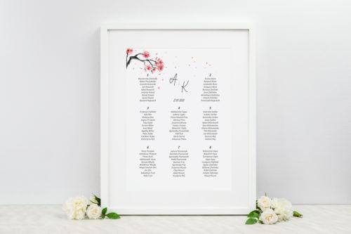 plan stołów weselnych z motywem japońskiej wiśni