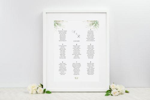 tablica weselna w delikatne liście