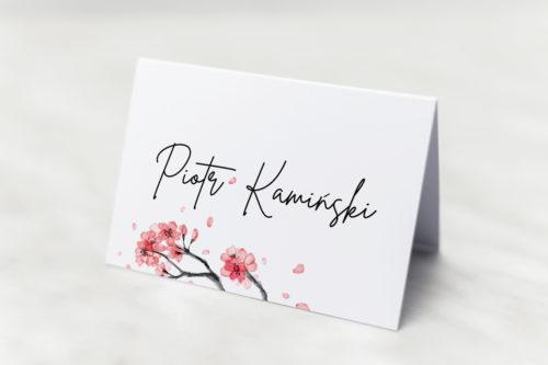 winietka weselna z motywem japońskiej wiśni