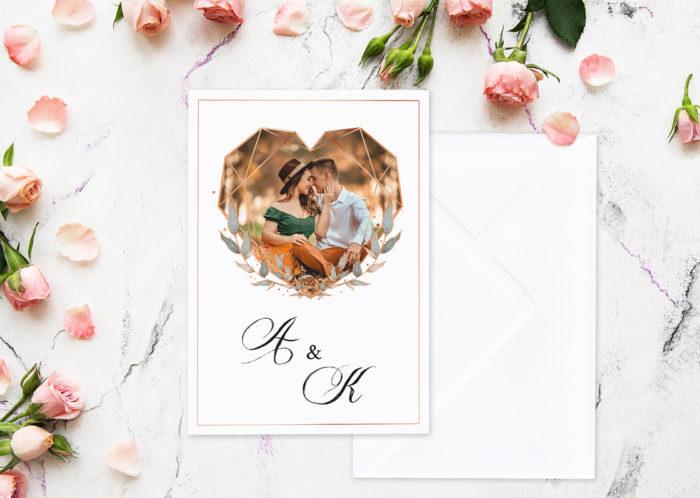 zaproszenie ślubne geometryczne ze zdjęciem