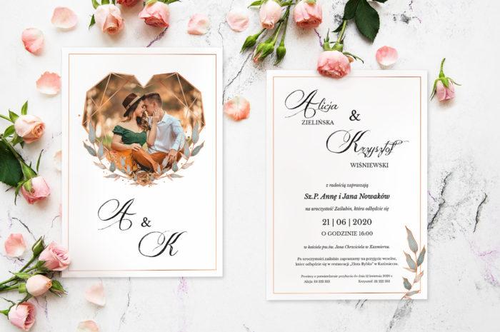 zaproszenie ślubne geometryczne