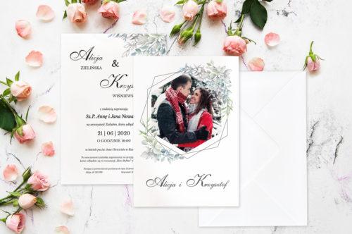 Zaproszenie ślubne ze zdjęciem - wzór 1