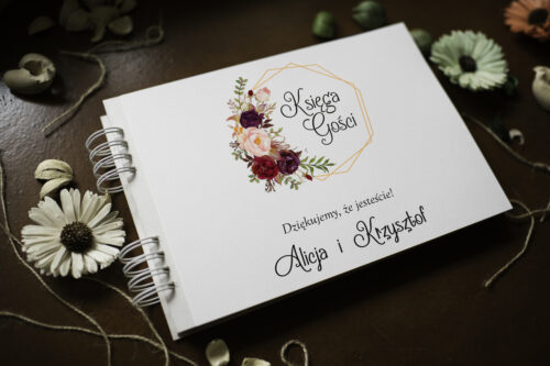 księga gości w bordowe kwiaty