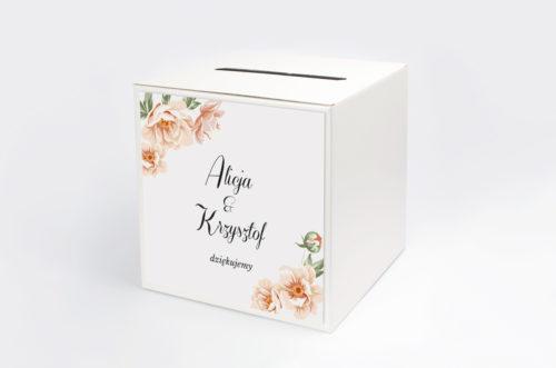 pudełko na koperty z różowymi kwiatami