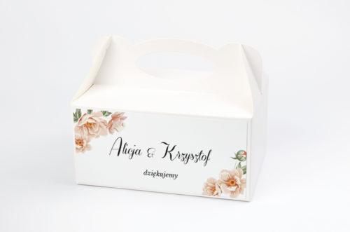pudełko na ciasto w różowe kwiaty