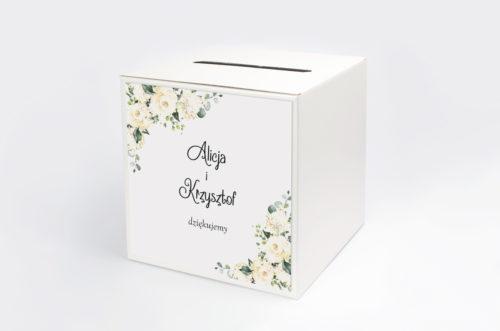 pudełko na koperty w białe hortensje