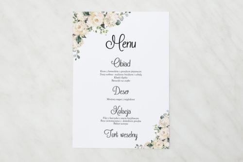 menu weselne w białe hortensje