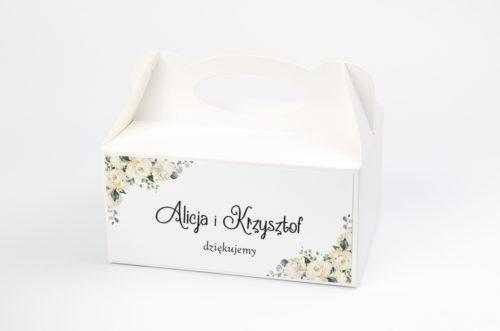 pudełko na ciasto w białe hortensje