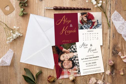 zaproszenie ślubne bordowe