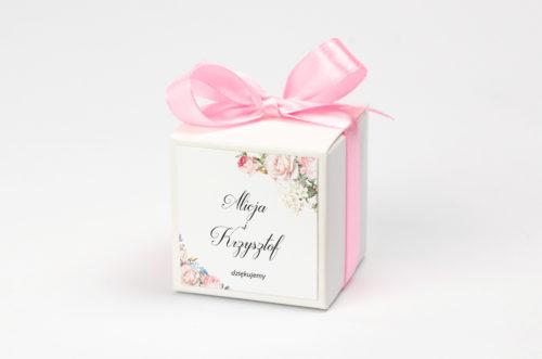 personalizowane pudełeczko na krówki bukiet szykowny