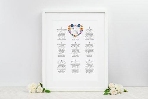 plan stołów weselnych folk