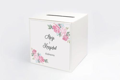 pudełko na koperty w różowe kwiaty