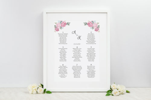 plan stołów weselnych w różowe kwiaty