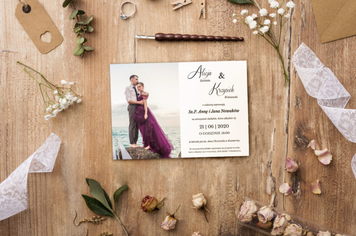 zaproszenie ślubne lawendowe