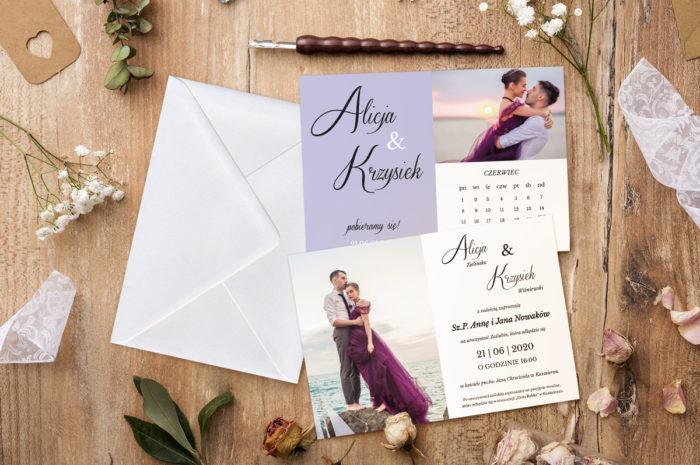 zaproszenie-slubne-jednokartkowe-zdjecie-kalendarz-lawenda-papier-matowy-koperta-bez-koperty
