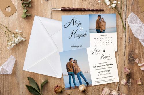 zaproszenie ślubne niebieskie z kalendarzem i zdjęciem