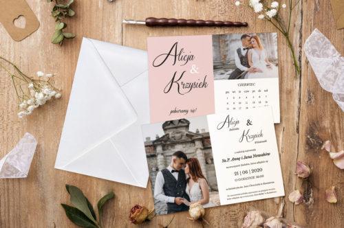 zaproszenie ślubne ze zdjęciem i kalnedarzem