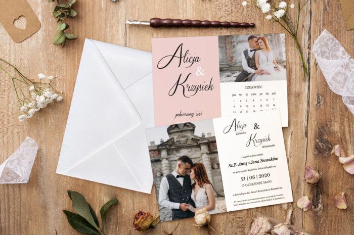 zaproszenie-slubne-jednokartkowe-zdjecie-kalendarz-roz-papier-matowy-koperta-bez-koperty