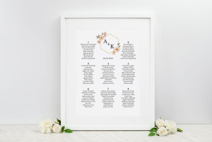 plan-stolow-weselnych-do-zaproszenia-jednokartkowe-geometryczne-rozowe-kwiaty-dodatki-ramka-papier-matowy