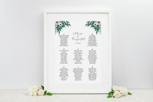 tablica gosci weselnych plan stołów wzór kwiatowy - Anemony