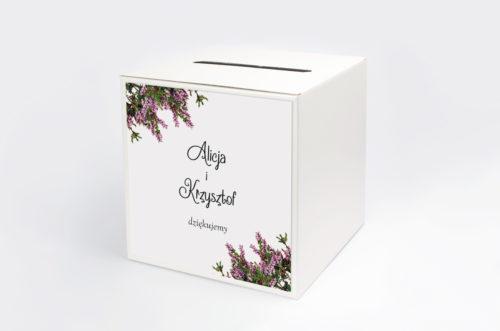 pudełko na koperty z motywem wrzosowym