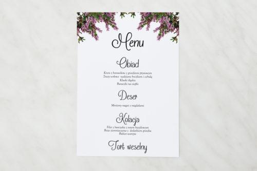 menu weselne z motywem wrzosowym