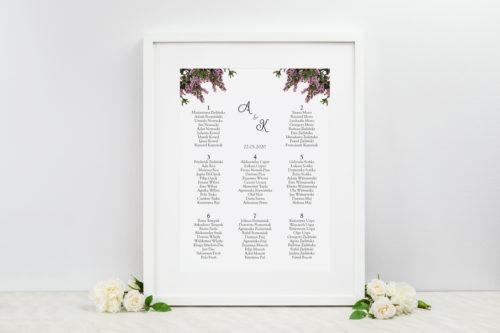 plan stołów weselnych z motywem wrzosowym