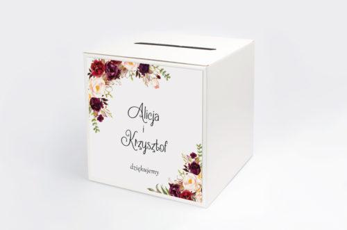pudełko na koperty z bordowymi kwiatami