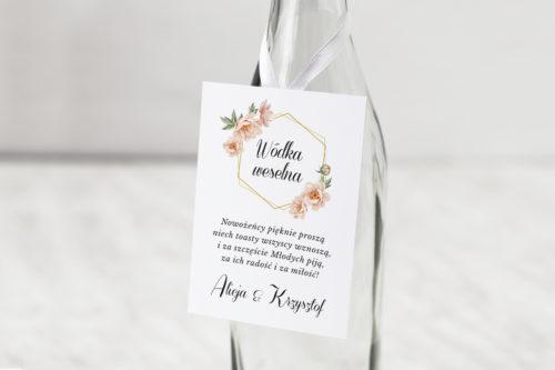 zawieszka na alkohol z różowymi kwiatami i geometrycznym wzorem