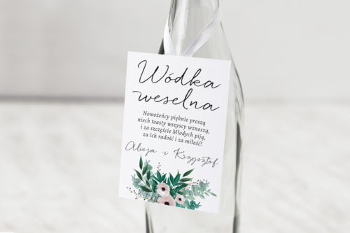 zawieszka weselna na alkohol ze wzorem kwiaty anemony