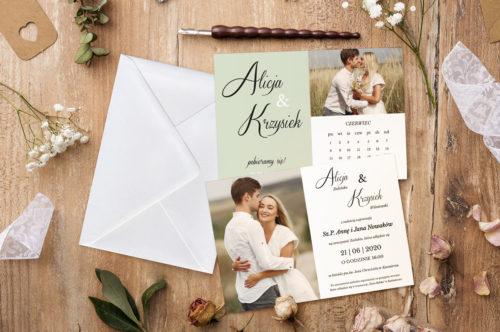 zaproszenie ślubne kalendarz i zdjęcie zielone