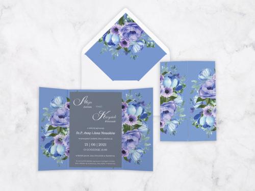 zaproszenie ślubne z nawami kwiatowe