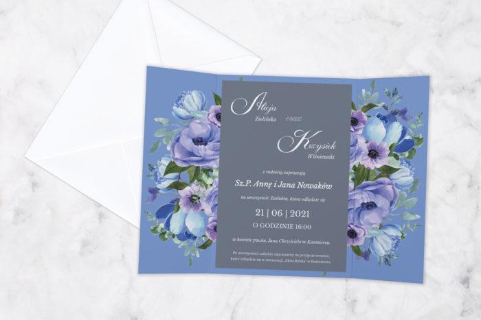 zaproszenie ślubne z nawami niebieskie