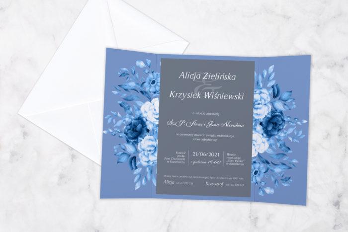 zaproszenie ślubne środek niebieskie