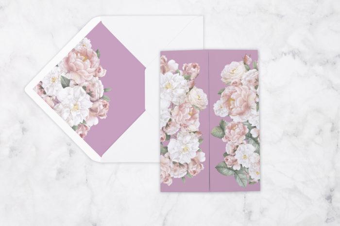 zaproszenie ślubne z nawami różowe