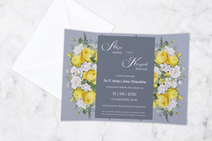 zaproszenie ślubne z nawami żółte kwiaty