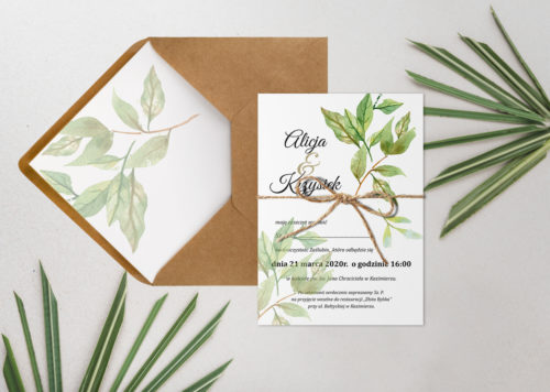 zaproszenie ślubne motyw botaniczny