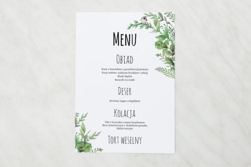 menu weselne botaniczne z ptaszkiem