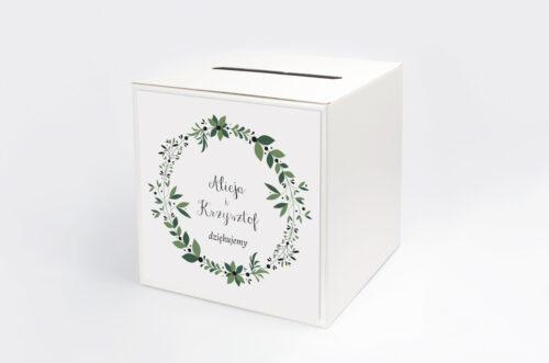 Personalizowane pudełko na koperty - Kwiaty z nawami: Zielony wianek