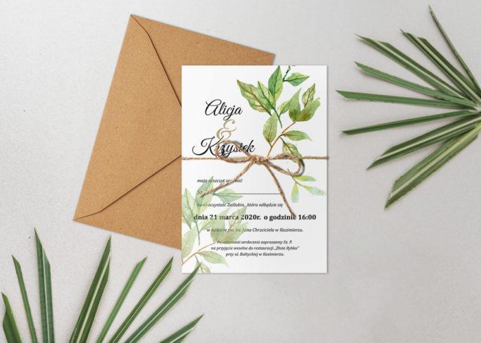zaproszenie ślubne botaniczne