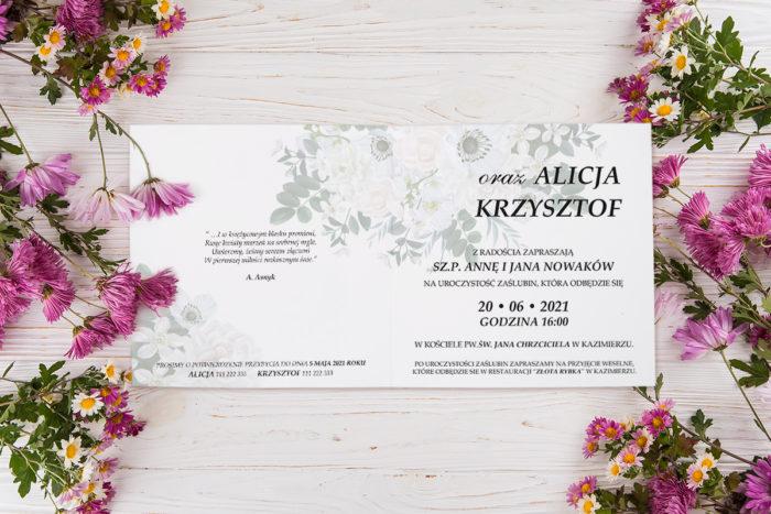 zaproszenie ślubne eleganckie kwiaty