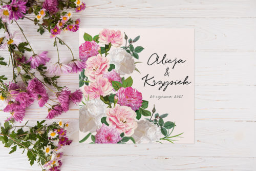 zaproszenie slubne eleganckie kwiatowe