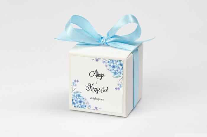 pudełko na krówki niebieskie hortensje