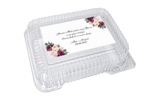 naklejka na pudełko plastikowe biało bordowe róże